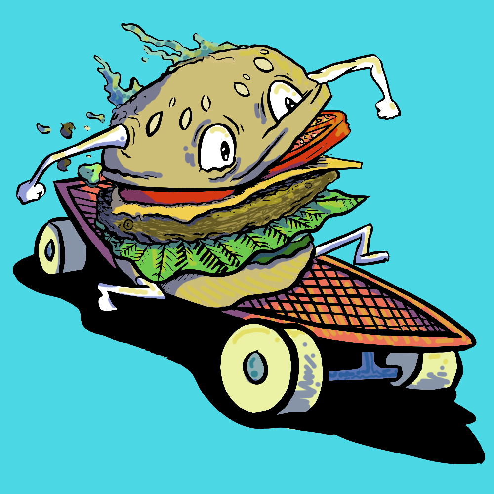 Illustration Cheeseburger Skater