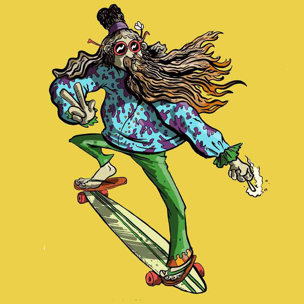 Illustration Hippy Skater